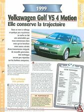 VW Volkswagen Golf V5 4 Motion 1999 Germany Allemagne Car Auto FICHE FRANCE