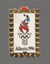 1996 Gold Hearts Atlanta Olympic Pin Heart Love Valentines