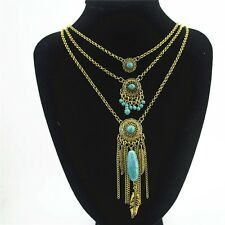 BOHO GYPSY BEACH HOLIDAY GOLD DREAM CATCHER FEATHER BLUE STONES NECKLACE