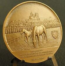 Médaille Cathédrale de Laon & blason sc Cochet 68mm Cheveaux animal horses Medal