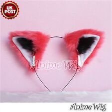 Red White Black Mixed Party Cosplay Fur Cat Ear Headband Hair Accessory