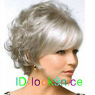 NEW lady Short curly Silver Gray Cosplay party lady's wigs + Free wig cap