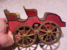 Vintage Old 1903 Clark Tin on Wood Toy Hill Climber Touring Car Cast Iron Wheels