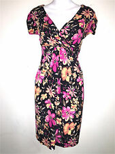 TIANA B WOMENS LADIES BLACK & PINK JERSEY KNIT WASHABLE STRETCH DRESS ~SZ M