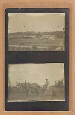 Carte Photo vintage card RPPC métier agriculteur cheval de trait ferme kh083