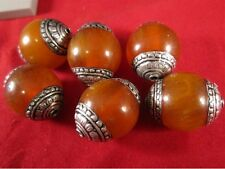 Wholesale Tibetan 6 Big 20X18mm Beeswax Amber 925 Sterling Silver Repousse Beads