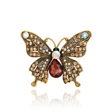 Retro Fashion Resin crystal butterfly party women girls Party gift brooch pin