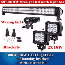 52INCH LED LIGHT BAR + 2X 4inch CREE LED WORK LIGHT DRIVING OFF ROAD JEEP TRUCK