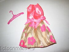VINTAGE MOD ERA BARBIE DOLL CLOTHES #3404 GLOWING OUT GOLD PINK SATIN DRESS