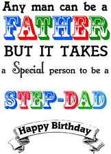 Happy Birthday Step-Father / Step-Dad card PID123 A5 Personalised Greeting Card