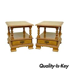 Pair of Vintage Ethan Allen Heirloom Nutmeg Maple Birch End Side Lamp Tables