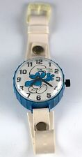 Vintage Peyo Smurf Toy Watch Ticks When Wound Hands Move Made In Hong Kong 1981