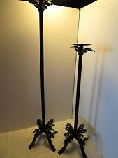 "Pair set 2 FLOOR Metal STAND PILLAR CANDLE HOLDER BLACK Steel 39"" & 29 3/4"" tall"