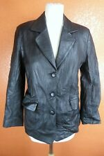 VERSACE LEATHER COUTURE Veste noire en cuir Agneau  Femme Taille XS
