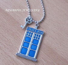 DR WHO /POLICE BOX PENDANT & KEY WITH STAINLESS STEEL BALL CHAIN GIFT BOX