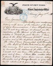 Canal Appraisers Office Albany NY 1883 - General E F Winslow Vintage Letterhead