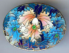 BEAUTIFUL VINTAGE CHINESE STERLING SILVER ENAMEL ORCHID PIN