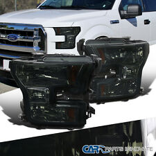 2015-2016 Ford F150 Pickup Smoke Crystal Headlights Lamp Replacement Left+Right