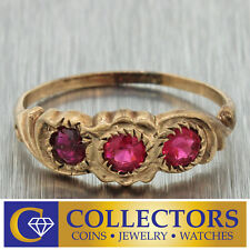 1880s Antique Victorian Estate 14k Solid Rose Gold .30ctw Red Ruby Band Ring