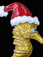 OCEAN LIFE SEA HORSE CHRISTMAS SANTA HAT SEAHORSE PIN BROOCH JEWELRY DANGLES 2.5