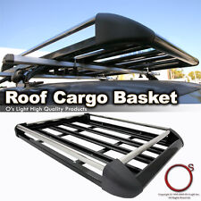 Universal Roof Top Rack Car Cargo Carrier Traveling Basket Black Aluminum