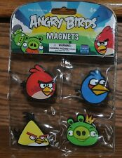 Rovio Angry Birds Magnets 4 pc Set King Pig Blue Red Yellow Birds 2010 NEW