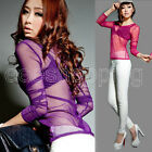 Women Gauze Crew Neck Tops Slim Sexy Mesh Long Sleeve Blouse T-Shirt See throug