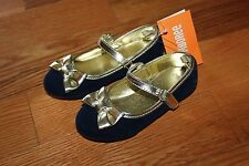 NWT Gymboree Holiday Shine Size 9 Navy Blue Velvet Gold Trim Dress Shoes