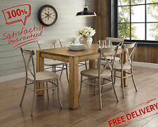 7-Piece Dining Set Kitchen Room Table Rustic Brown 6 Vintage White Metal Chair