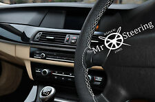 FITS FORD MONDEO MK4 PERFORATED LEATHER STEERING WHEEL COVER WHITE DOUBLE STITCH