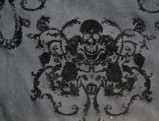 "Remnant Scrap Black Felt Skull Damask 2W Black Twill Fabric (19x52"") 1/2 yard"