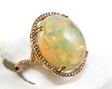 Huge Oval Fire Opal Solitaire Infinity Ring w/Diamond Halo 14k Rose Gold 13.88Ct