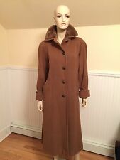 Vintage NINA RICCI Brown Superfine Merino Wool & Fur Long Coat SIZE 10/Large