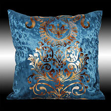 2X LUXURY SHINY BLUE GOLD DAMASK VELVET CUSHION COVERS THROW PILLOW CASES 17""