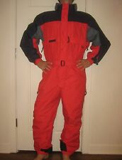 Mens LARGE Red Navy COLUMBIA Vtg Snow Ski Suit BIB Onesie Jacket Coat Snowsuit L