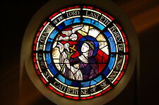 """+Antique Round Stained Glass Window  """"St. Catherine of Sienna""""(#9) + chalice co."""