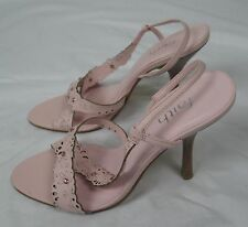 "Pink leather 4"" heel floral jewel sandal shoes FAITH size 6"