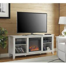 Electric Fireplace TV Stand Whitewash Rustic Media Center Console Storage Heater