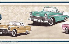 Vintage Classic Car Chevy Corvette Ford Thunderbird Mustang Wall paper Border