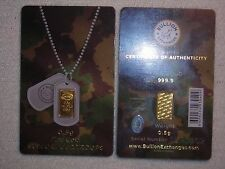 GOLD BAR 1/2 GRAM WITH CREDIT CARD CERTIFICATE SOLID .999 GOLD IGA BAR LOT #1