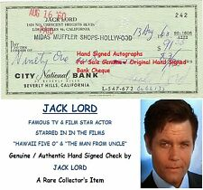 JACK LORD  TV and FILM STAR ACTOR   HAND SIGNED EARLY BANK CHEQUE 1960 RARE ITEM