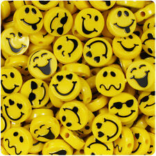 30 Bright Yellow 13mm Expressions / Emoji Picture Beads Made in the USA