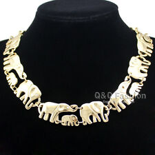 Gold African Elephant & Baby Link Hindu Ganesh Chain Collar Statement Necklace C