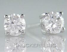0.50ct Natural Diamond Solitaire Studs Brilliant Cut F Colour in 18ct White Gold