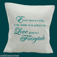 BRAND NEW LAURA ASHLEY LINEN LOVE FAIRYTALE EMBROIDERED 40.6cm CUSHION COVER