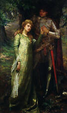 Art oil painting Hand painted girl with her Prince Charming soldier sword forest