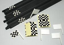 3 Vintage Slot Car Plastic Flags & 3 Sheets of Track Finish Line or Flag decor