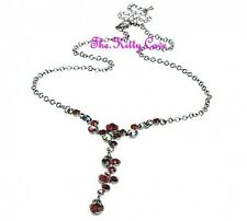 Deco Vintage Burlesque Starlet Glamour Red Garnet Necklace w/ Swarovski Crystals