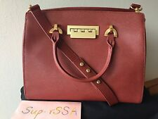 NWT Zac Posen Eartha Leather Barrel Satchel Bag Handbag Red Fossil $595