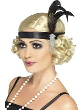 Ladies Black Feather Headband Flapper Charleston 20's Gatsby Fancy Dress